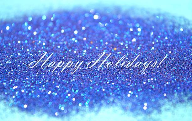 Greeting card with text Happy Holidays on blue background stock photo