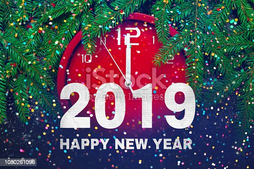 istock Greeting card with text Happy New Year 2019 1080261096
