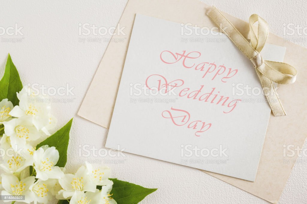 Greeting Card With Text Happy Wedding Day White Jasmine On The White