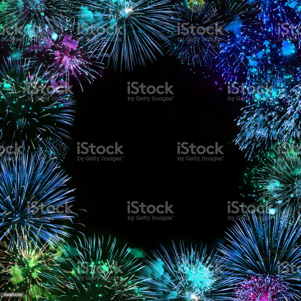 Greeting card with various colorful fireworks stock photo