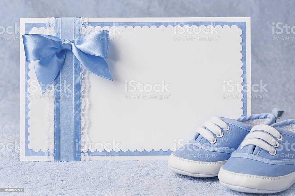 Greeting children form with booties stock photo