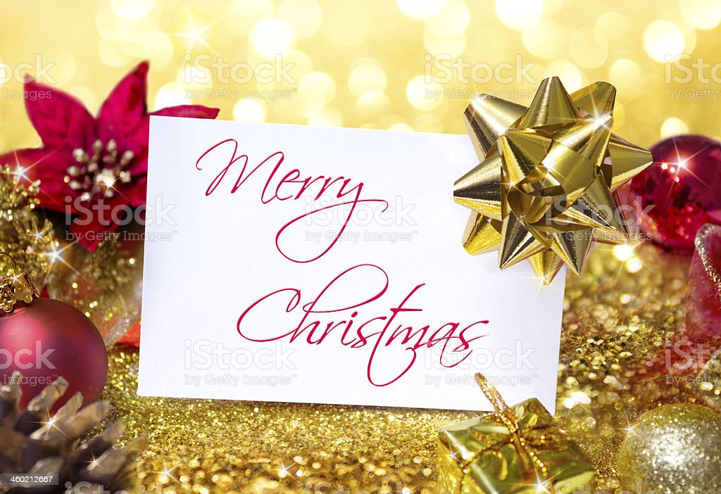 greeting christmas in golden and red royalty-free stock photo