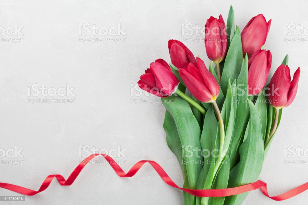 Greeting for Birthday, Womans or Mothers Day with tulip flowers. stock photo