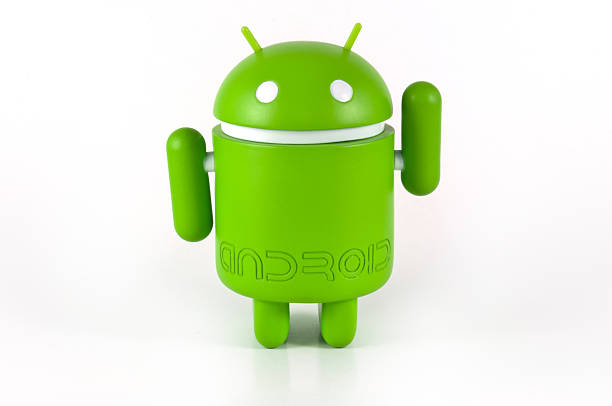 greeting google android mascot - cyborg stock photos and pictures