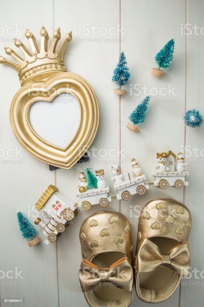 Greeting heart frame for princess girl stock photo