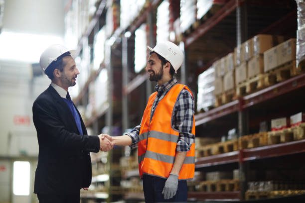 Greeting of workers stock photo