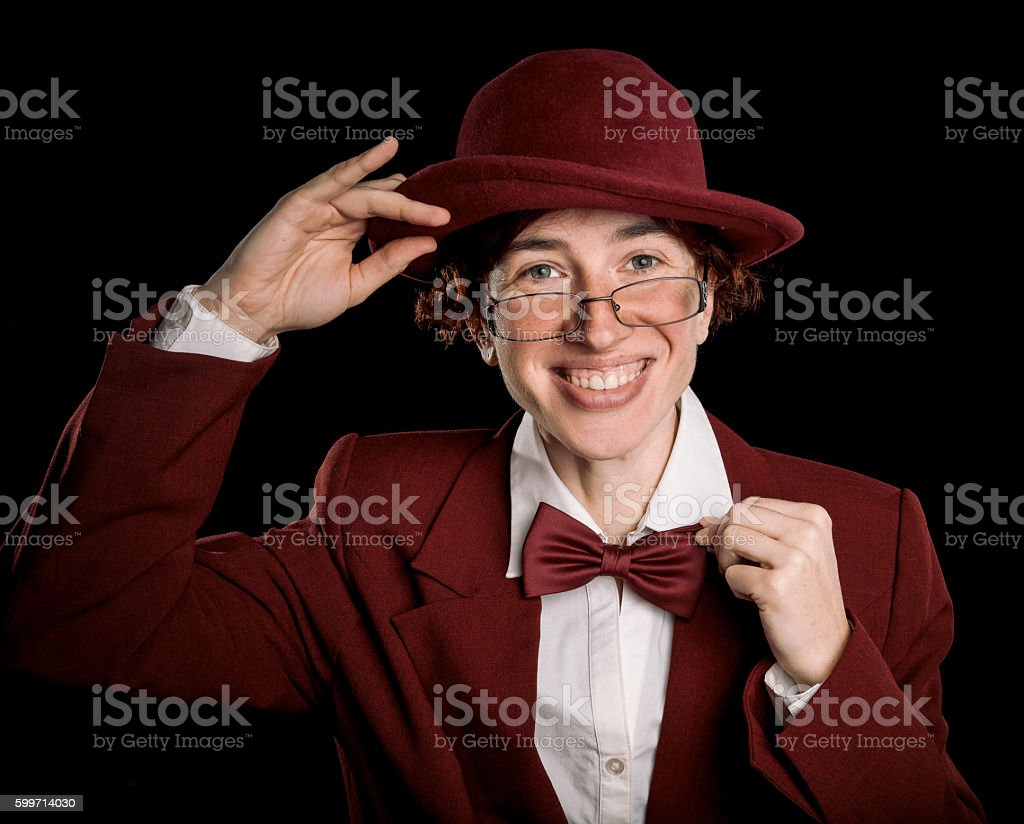 Greeting person in red stock photo