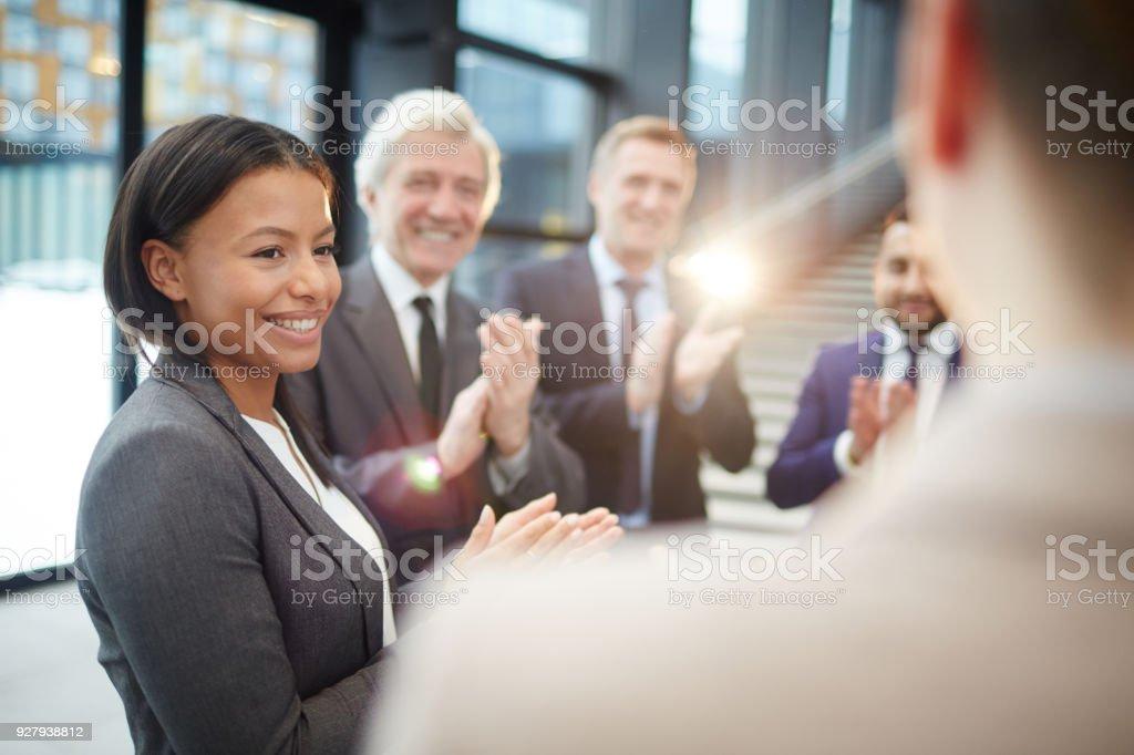Greeting winner stock photo