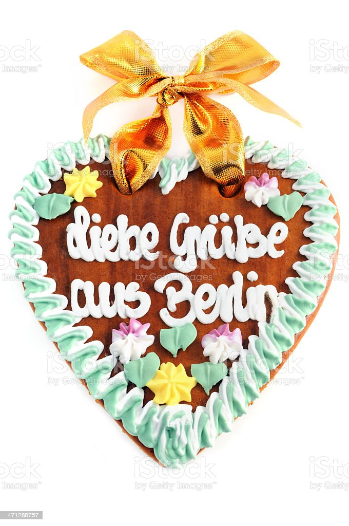 Greetings from berlin gingerbread cookie heart with german words greetings from berlin gingerbread cookie heart with german words royalty free stock photo m4hsunfo