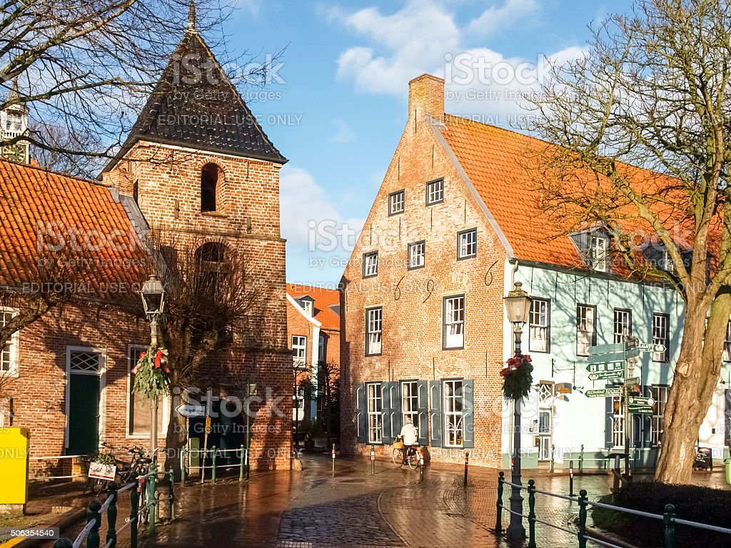 Greetsiel, typical houses of the Village stock photo