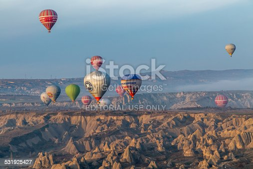 istock Göreme in the early morning crowded by balloons in sky 531925427