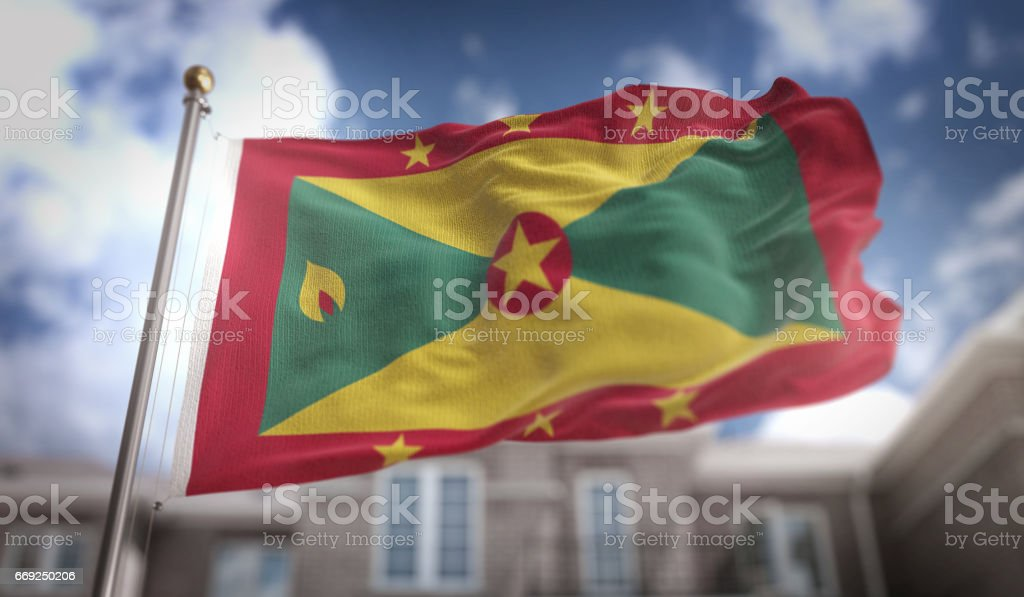 Grenada Flag 3D Rendering on Blue Sky Building Background stock photo