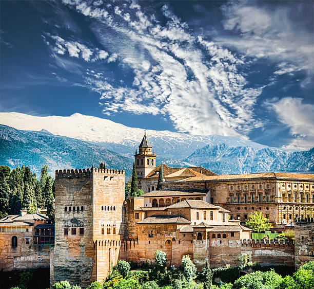 Granada View of the famous Alhambra, Granada in Spain. palace of charles v stock pictures, royalty-free photos & images