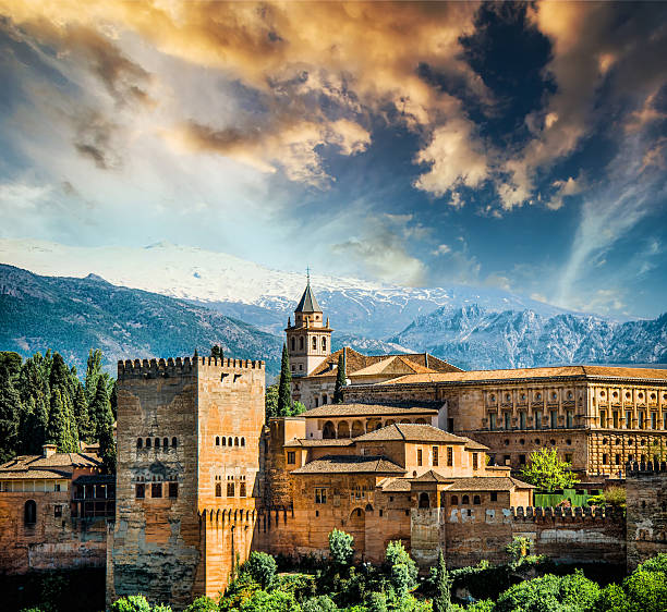 Granada View of the famous Alhambra, Granada in Spain. palacios nazaries stock pictures, royalty-free photos & images