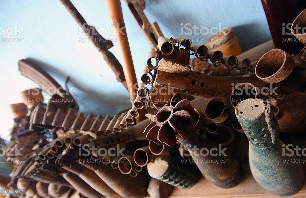 Grenades, mortars, shells and bombs stock photo