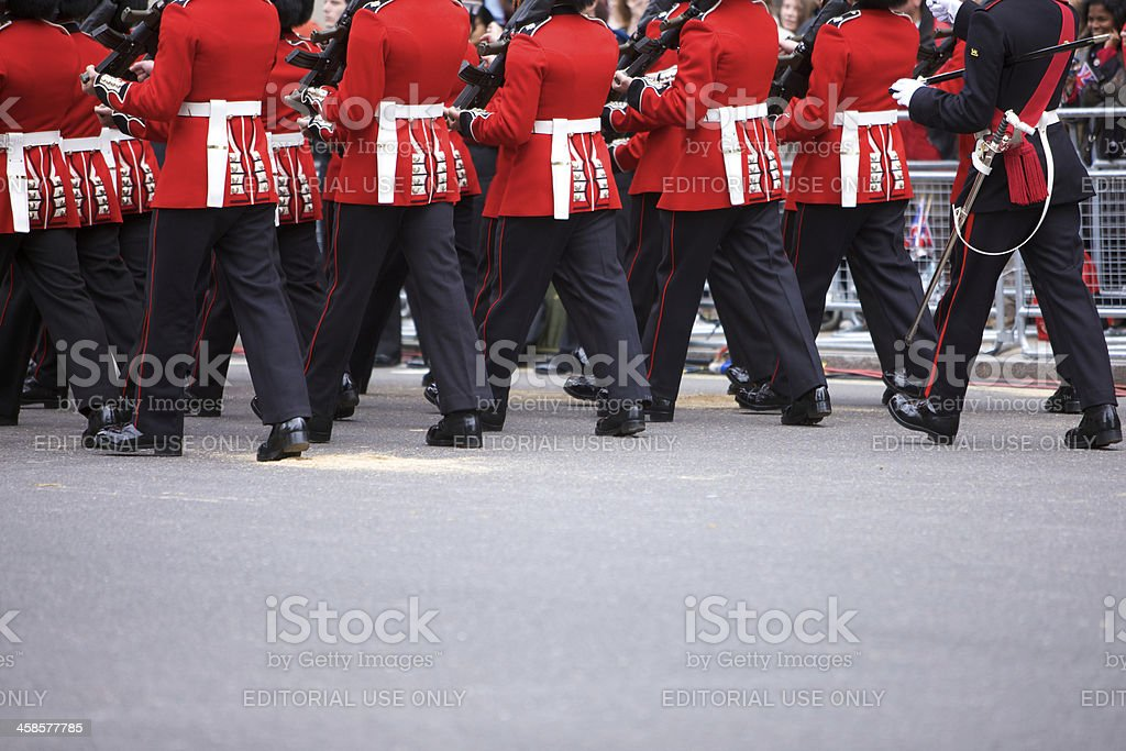 Grenadier Guards marching at the Queen's Diamond Jubilee State procession royalty-free stock photo