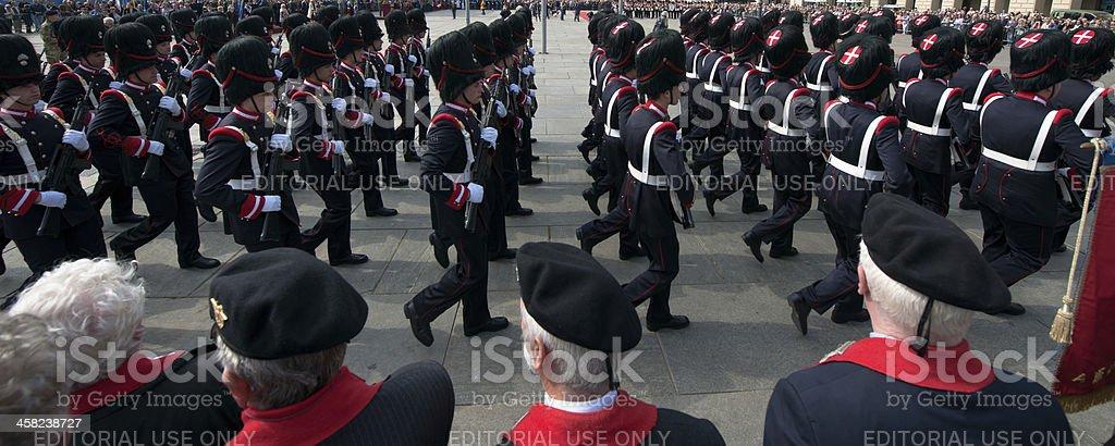Grenadiers of Sardinia parade, full uniform, during a national meeting royalty-free stock photo