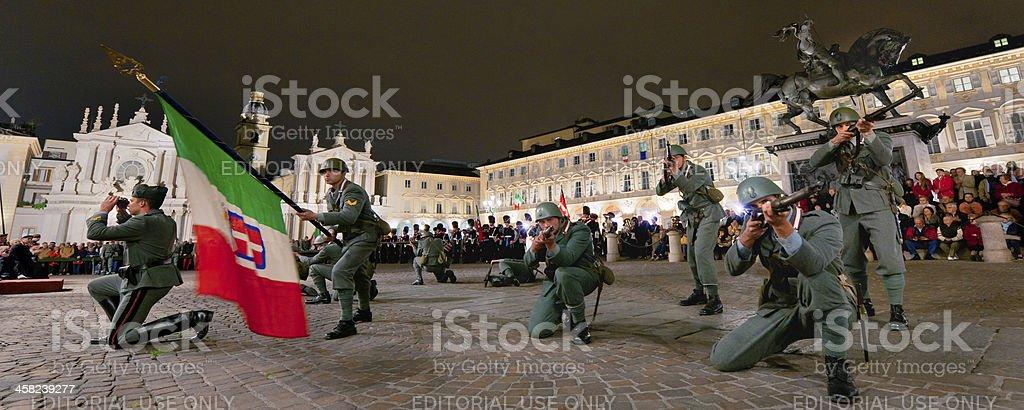 Grenadiers of Sardinia simulating a fight, San Carlo square, Turin stock photo