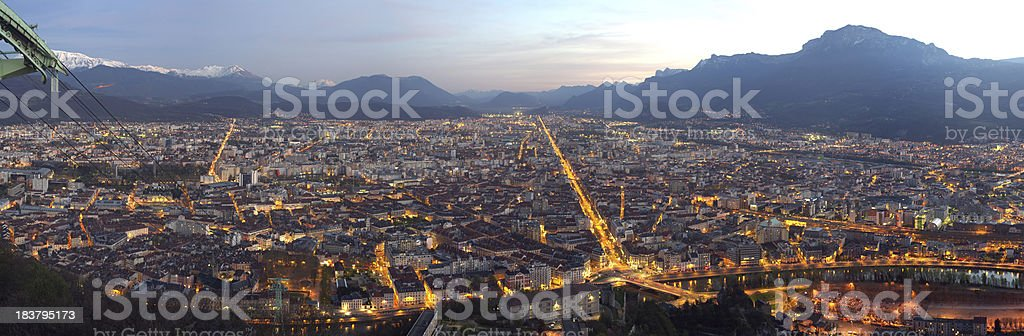 Grenoble by night royalty-free stock photo