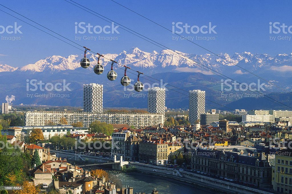 Grenoble cable car royalty-free stock photo