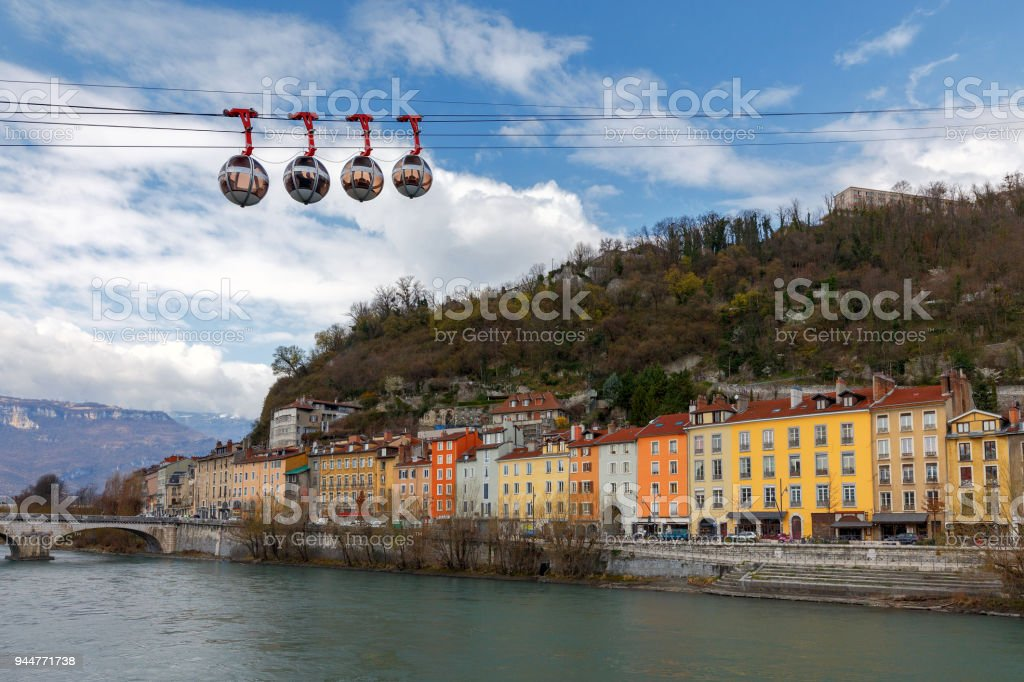 Grenoble. Cable car. stock photo