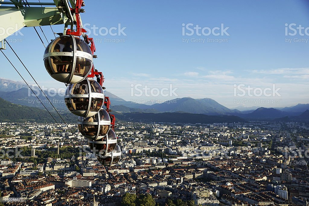 Grenoble cablecar heading downwards stock photo