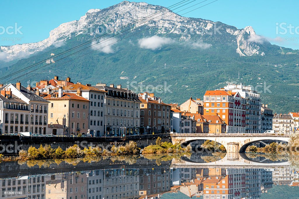 Grenoble city in France Morning cityscape view with mountains, river and bridge in Grenoble city on the south-east of France Auvergne-Rhône-Alpes Stock Photo
