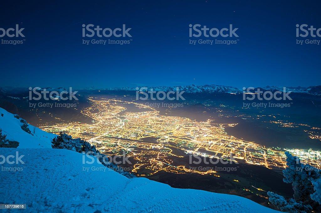 Grenoble Panorama in Winter Night stock photo