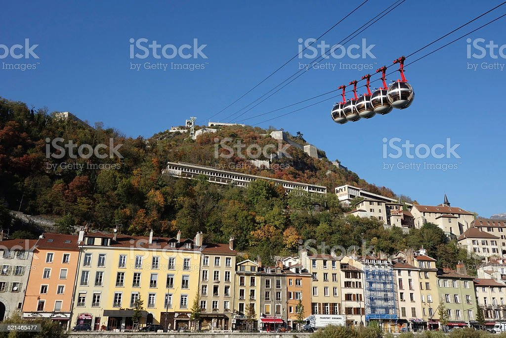 Grenoble Street View and Cable Cars stock photo
