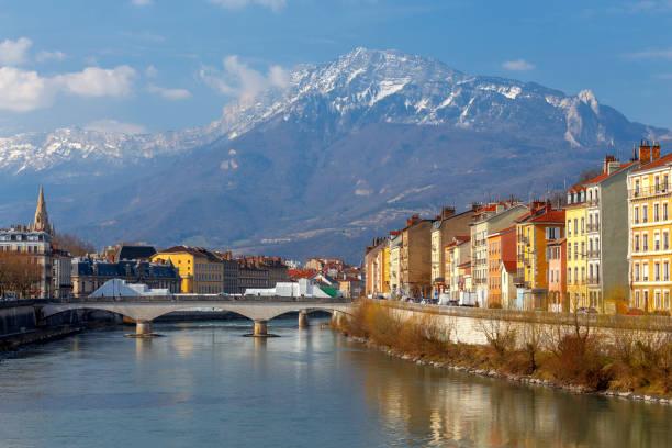 Grenoble. The city embankment. stock photo