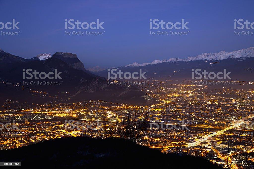 Grenoble view at night stock photo