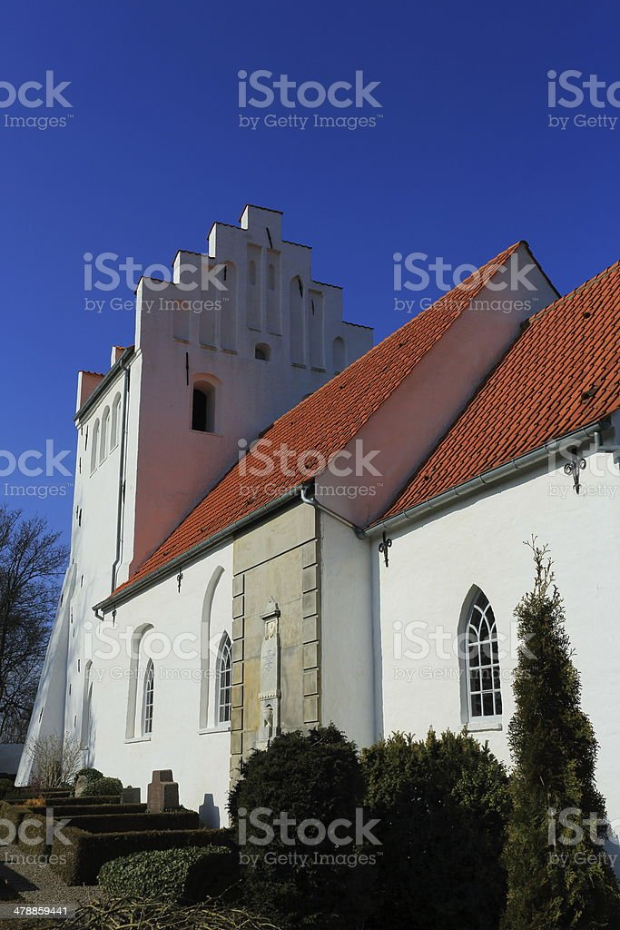 Greve Kirke Church in red and white royalty-free stock photo