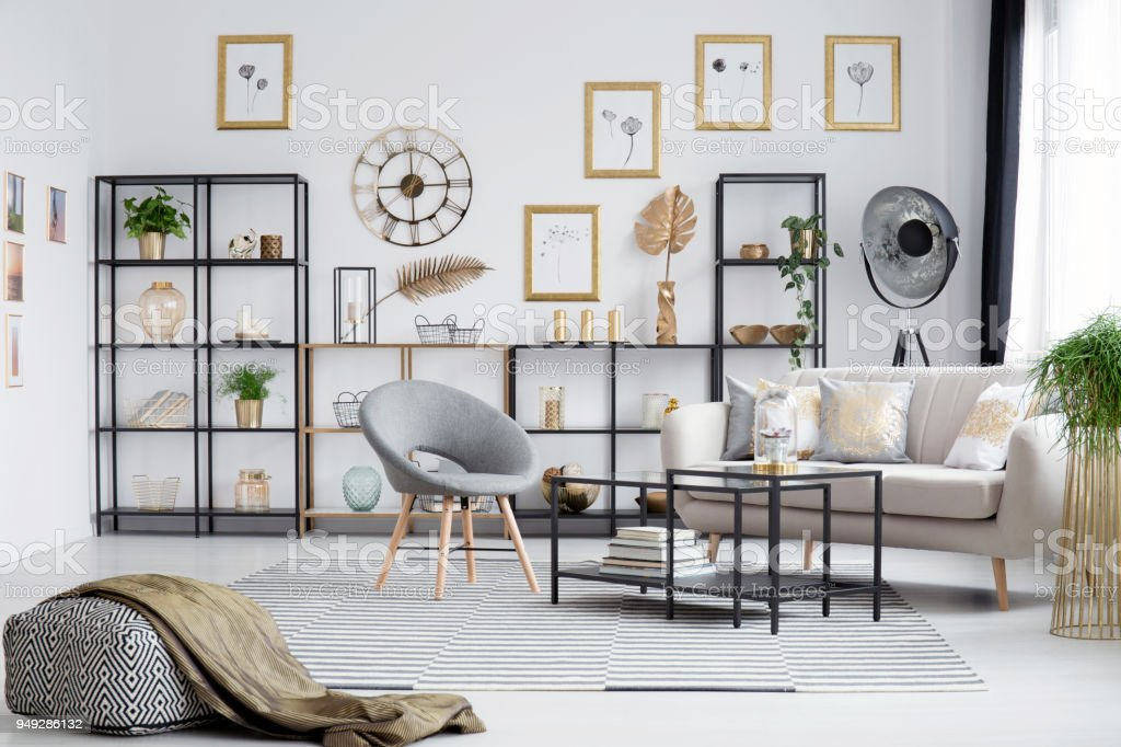 Grey And Gold Living Room Stock Photo Download Image Now Istock