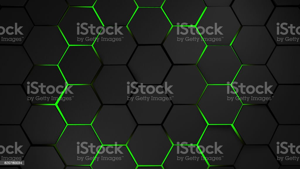 grey and green hexagons modern background illustration stock photo