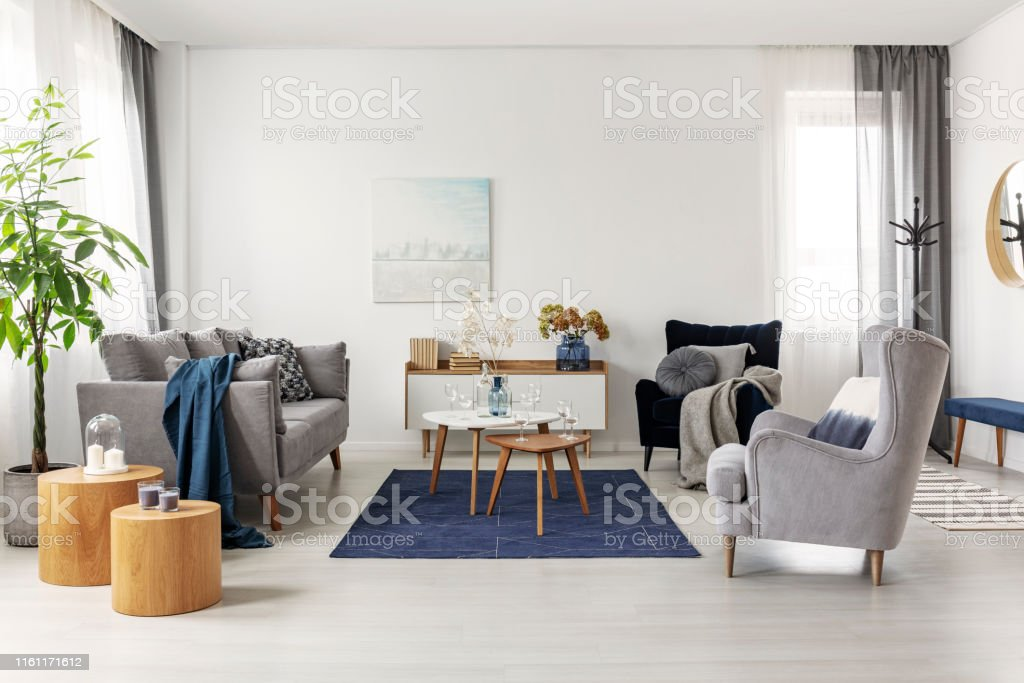 Grey and navy blue living room interior with comfortable sofa and armchairs - Стоковые фото Абстрактный роялти-фри