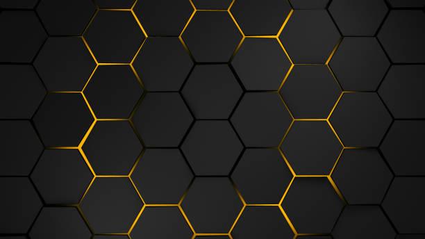 灰色和橙色的六邊形現代背景圖 - 蜂巢式樣 個照片及圖片檔