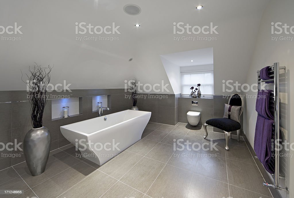 grey and purple bathroom royalty-free stock photo