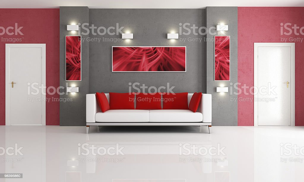 grey and red living room royalty-free stock photo