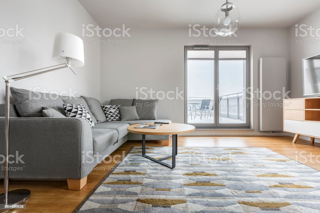 Grey and white living room stock photo
