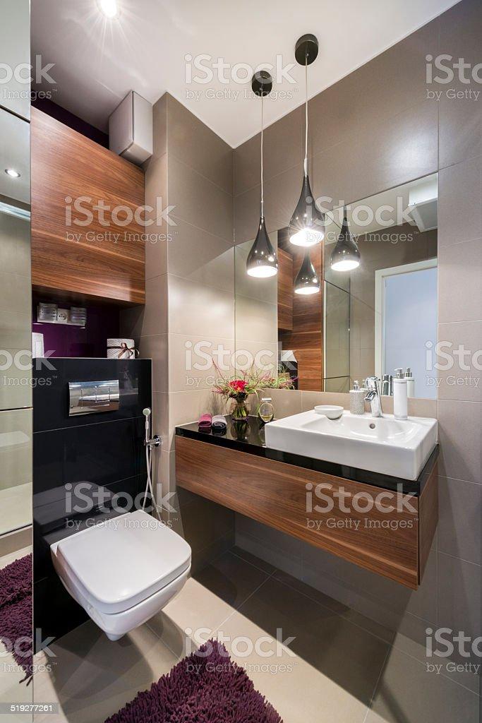 Grau Holz Und Luxusbadezimmer Stockfoto und mehr Bilder von ...