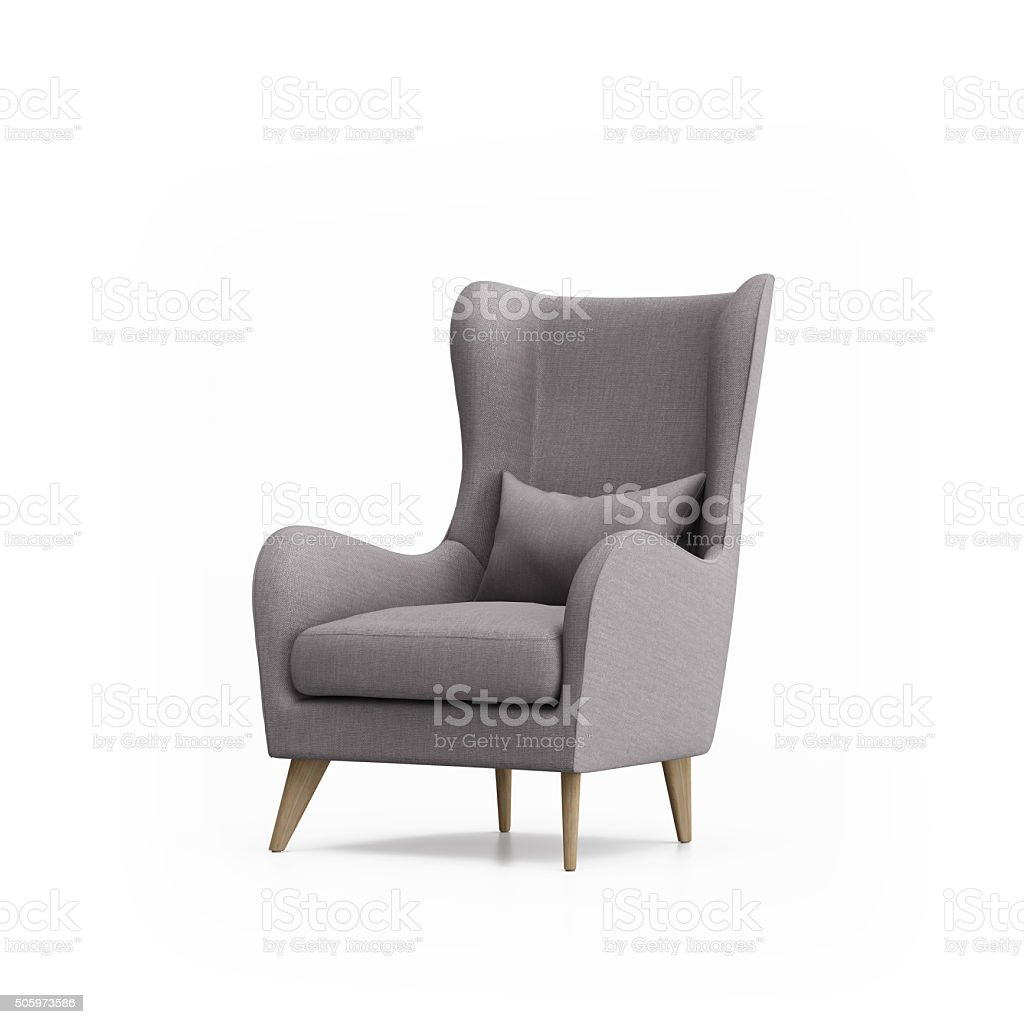 Grey armchair isolated stock photo