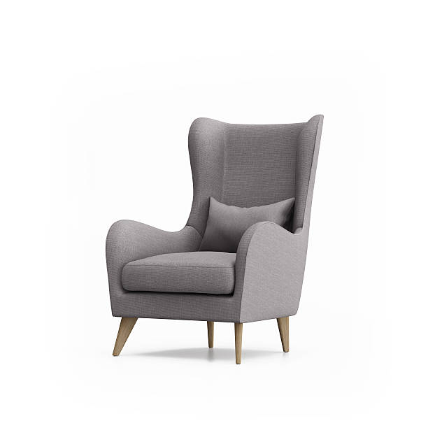 grey armchair isolated - stoel stockfoto's en -beelden