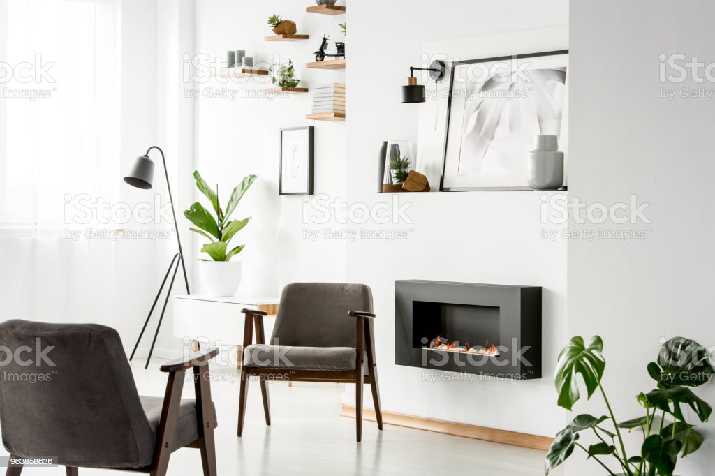Grey armchairs next to fireplace in white apartment interior with plant, poster and lamp. Real photo - Royalty-free Apartment Stock Photo