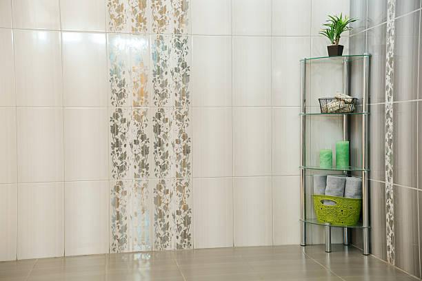 Grey bathroom with decorative rack ストックフォト