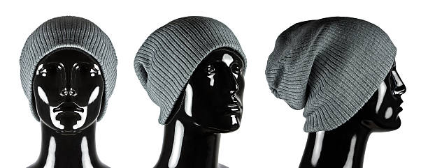 Grey Beanie Hat on Mannequin stock photo
