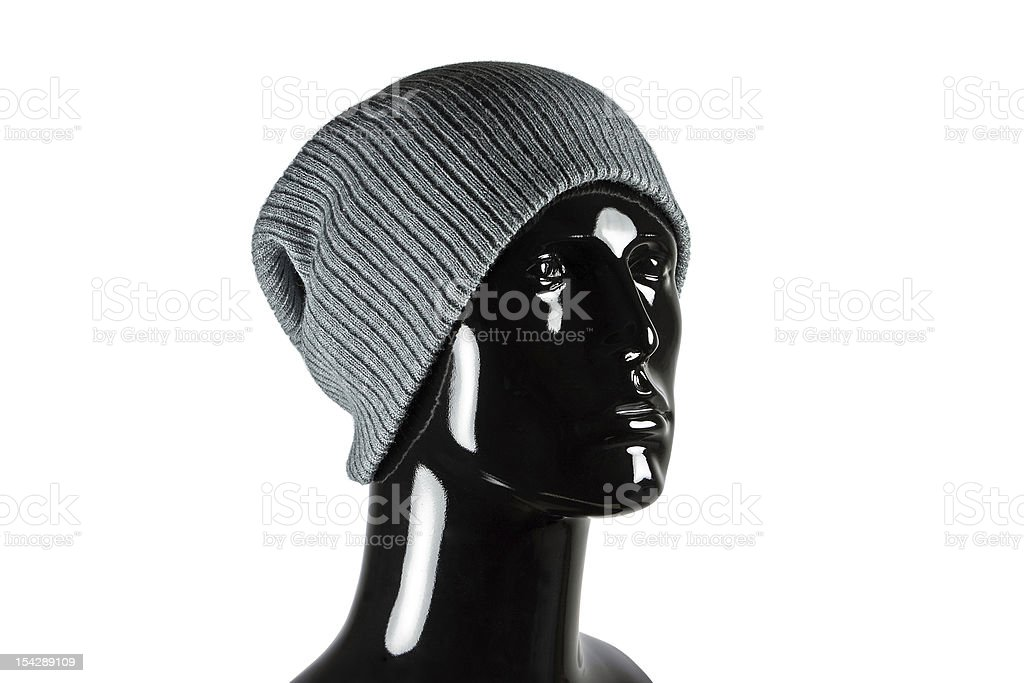 Grey Beanie Hat on Mannequin stock photo