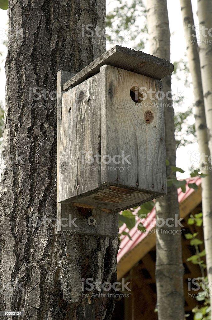 Grey Birdhouse royalty-free stock photo