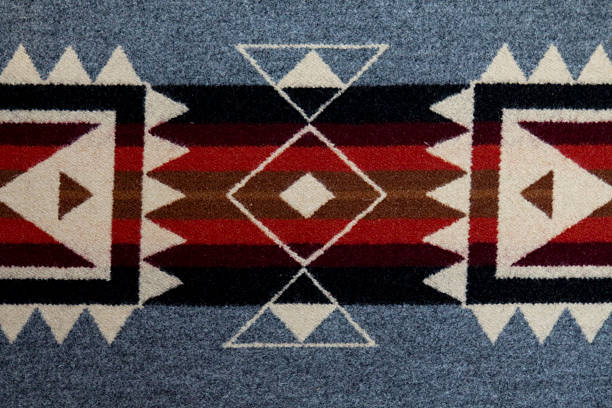 Grey, black and white Navajo blanket with horizontal lines