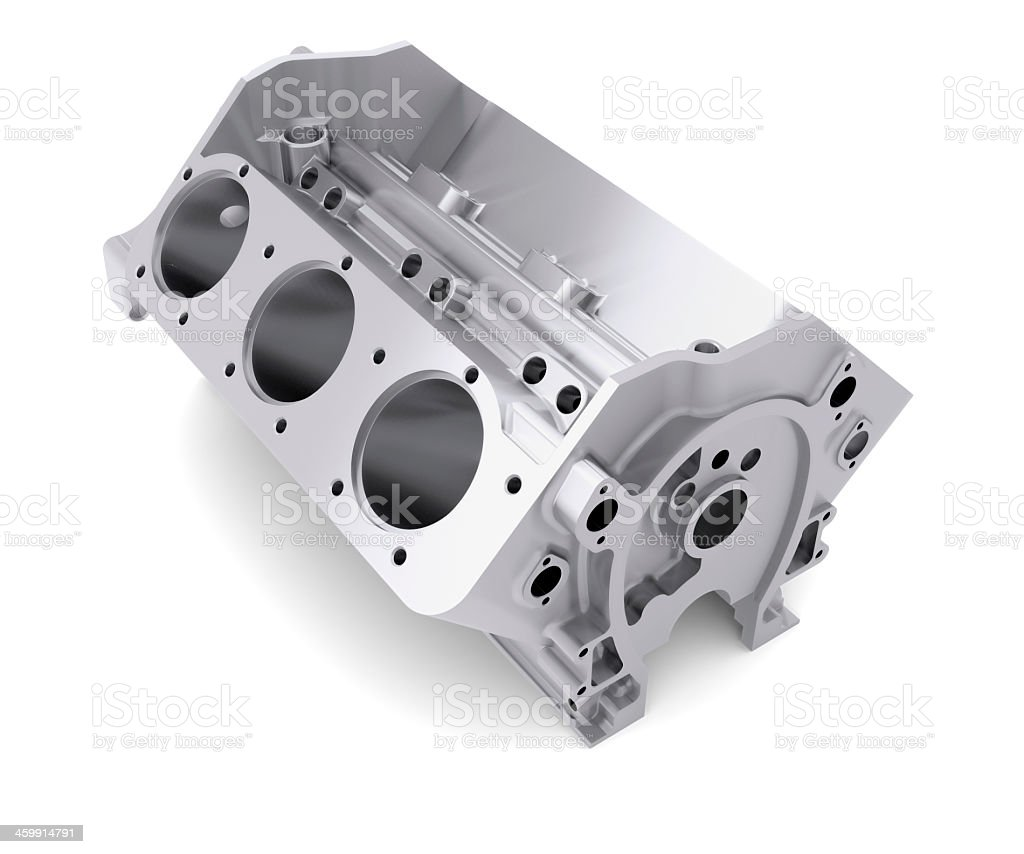 Grey block of cylinders in front of white background stock photo