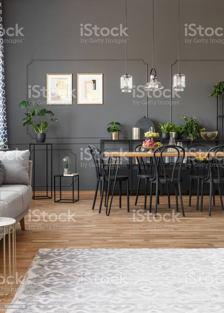 Grey Carpet In Apartment Interior With Black Chairs At Dining Table And Posters On The Wall Real Photo